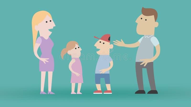 Famille de bande dessinée dans la conception plate illustration libre de droits