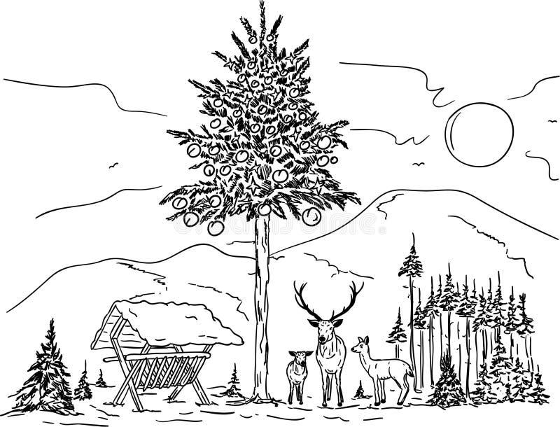 Famille de cerfs communs illustration de vecteur