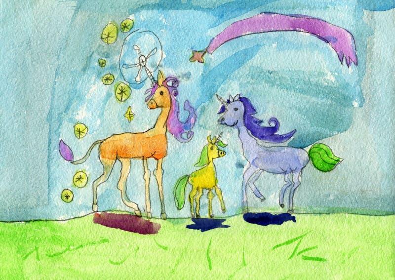 Famille de cheval de licorne avec leur licorne de poulain faisant la magie image stock