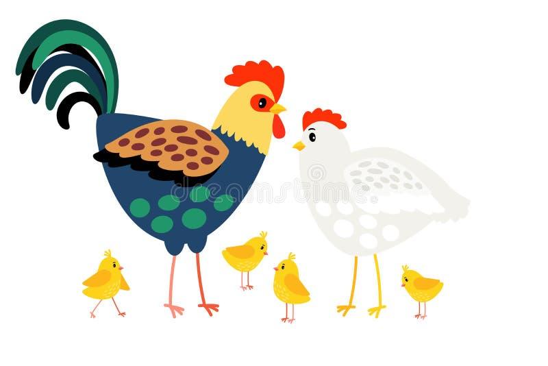 Famille de coq La mère de poule, le père de coq et la bande dessinée de poulets dirigent les caractères heureux de ferme d'isolem illustration de vecteur