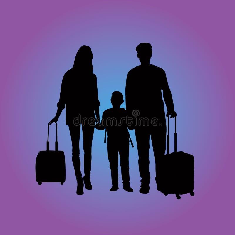 Famille de déplacement à l'aéroport illustration de vecteur
