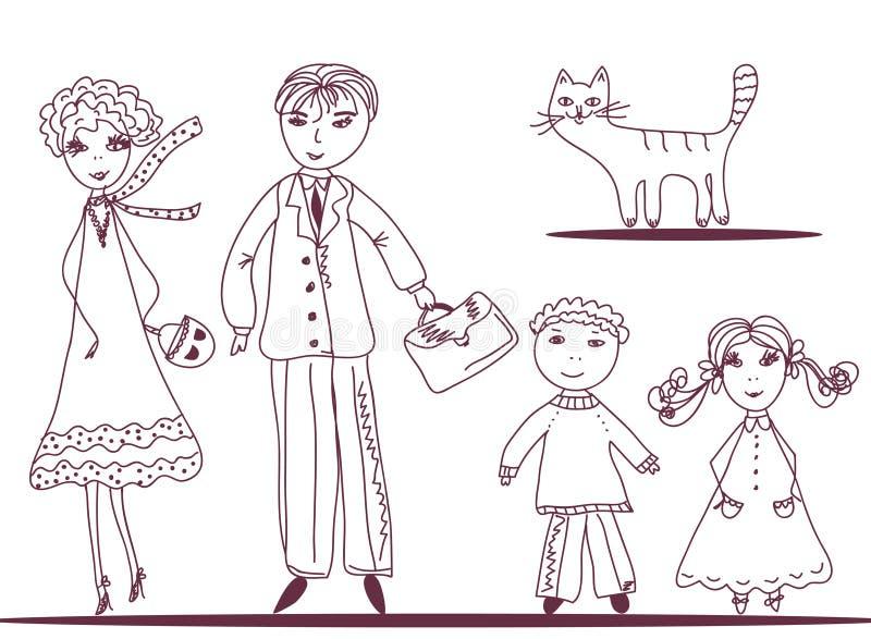 Famille de dessin animé avec le chat illustration de vecteur