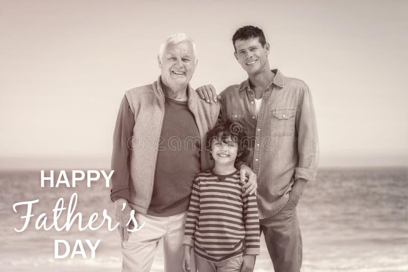 Famille de generations multi avec le jour de pères heureux photos stock