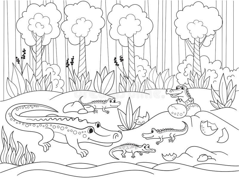 Famille de la bande dessinée des enfants des crocodiles en Afrique Livre de coloration Lignes noires, fond blanc illustration de vecteur