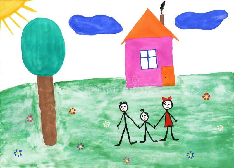 Famille de la peinture des enfants en nature d'été illustration stock