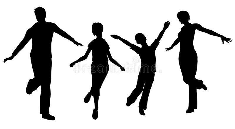 Famille de la silhouette quatre illustration libre de droits