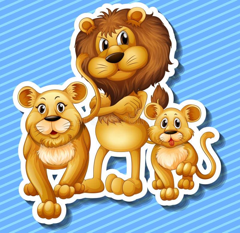 Famille de lion avec le petit petit animal illustration stock