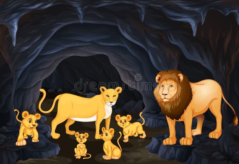 Famille de lion avec quatre petits animaux illustration stock