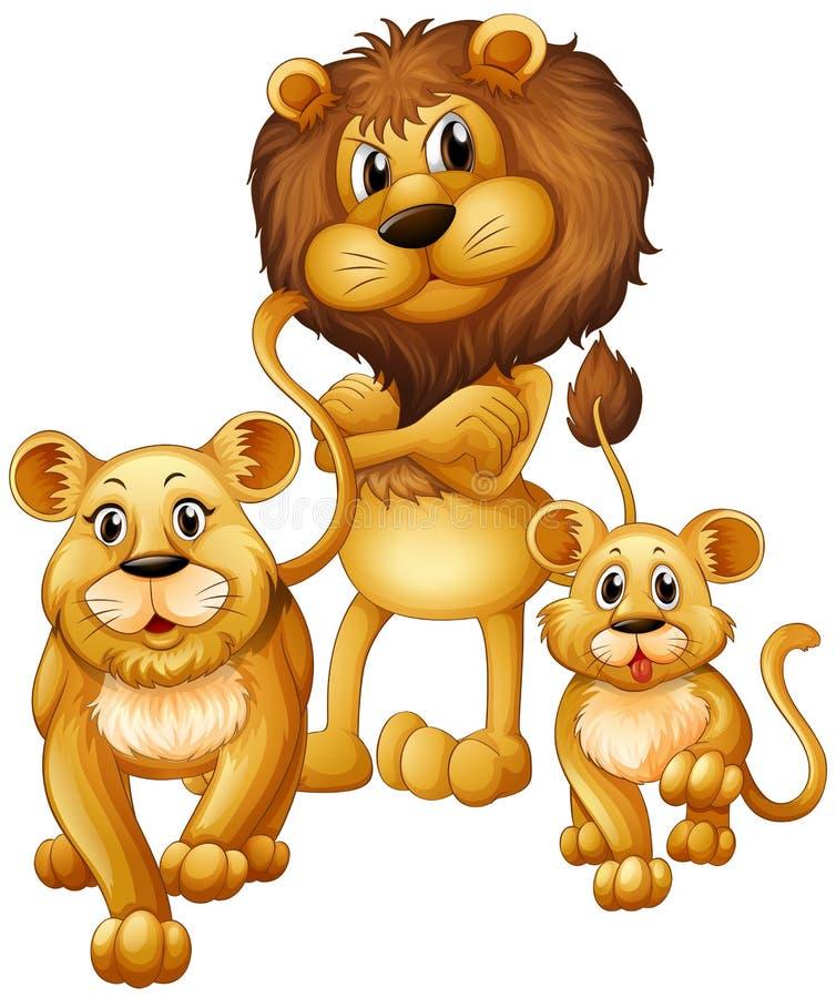 Famille de lion avec un petit animal illustration libre de droits