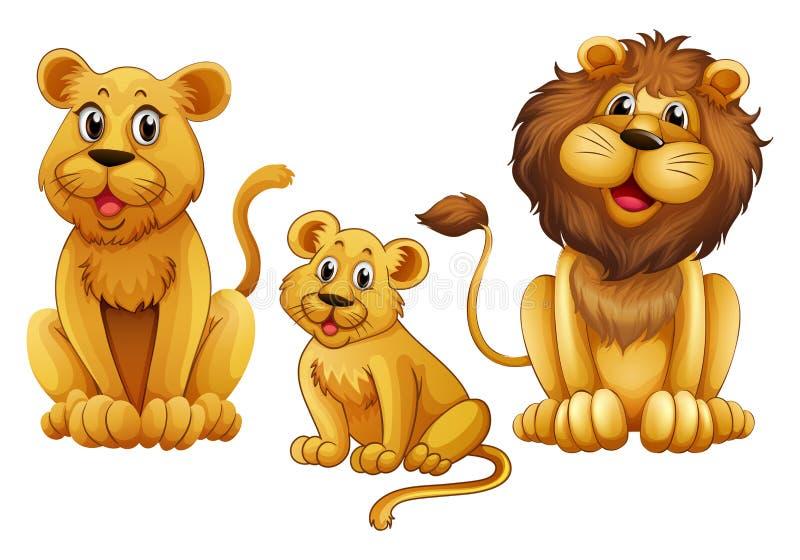 Famille de lion avec un petit animal illustration de vecteur