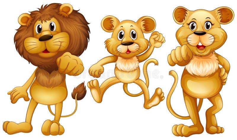 Famille de lion avec un petit petit animal illustration de vecteur