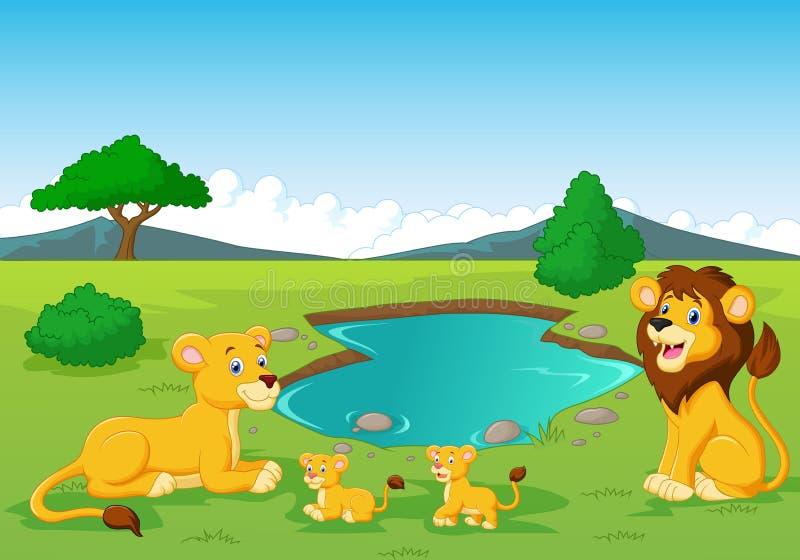 Famille de lion de bande dessinée près d'abreuvoir illustration libre de droits