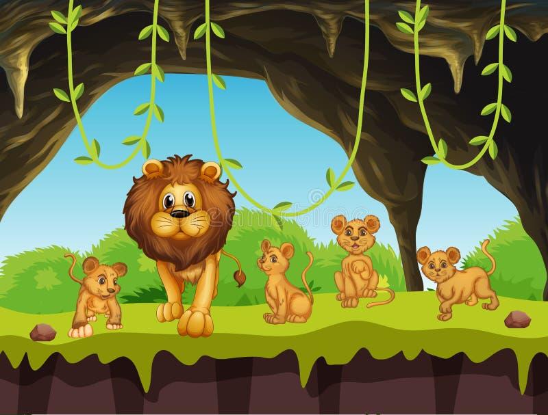 Famille de lion en nature illustration libre de droits