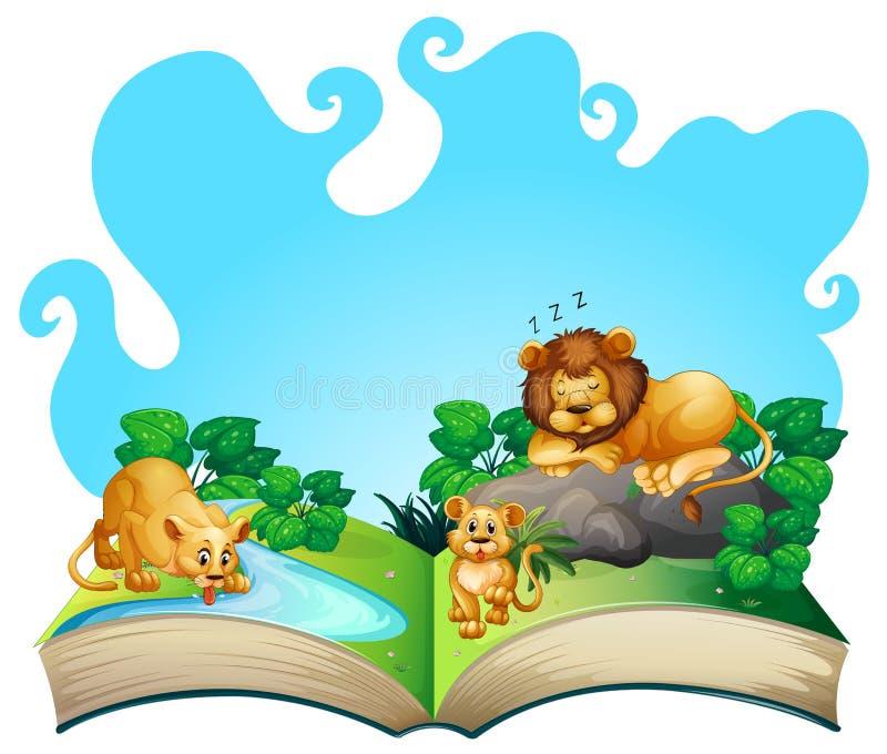 Famille de lion par la rivière illustration de vecteur