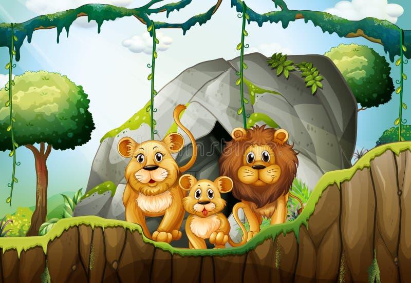 Famille de lion vivant dans la jungle illustration libre de droits