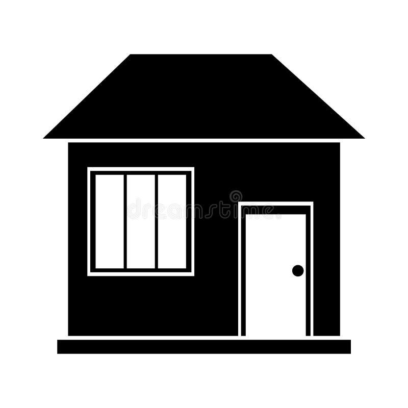 Famille de maison de maison de silhouette résidentielle illustration stock