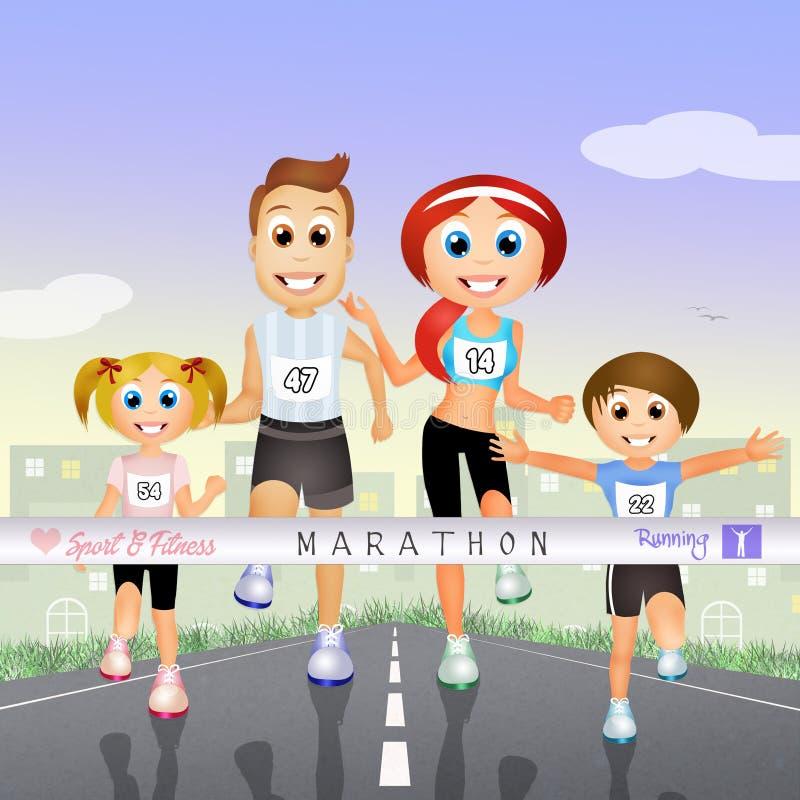 Famille de marathon illustration libre de droits