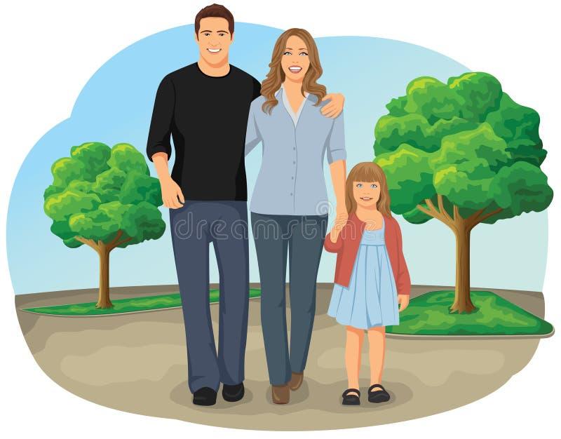 Famille de marche illustration de vecteur