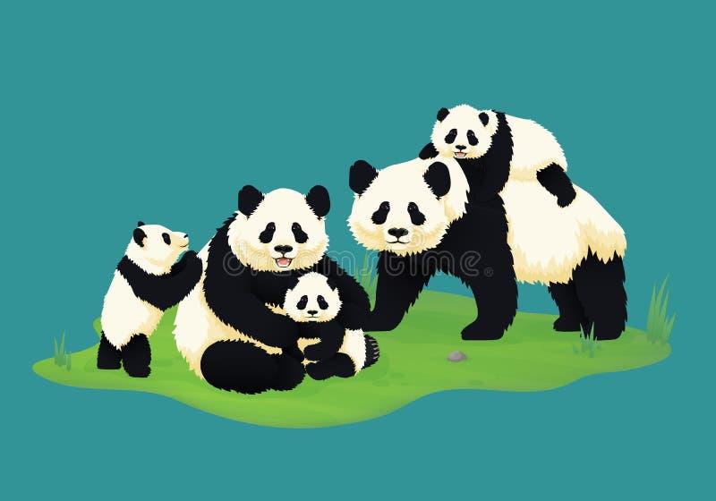 Famille de panda géant Deux pandas adultes avec trois pandas de bébé Ours chinois illustration libre de droits