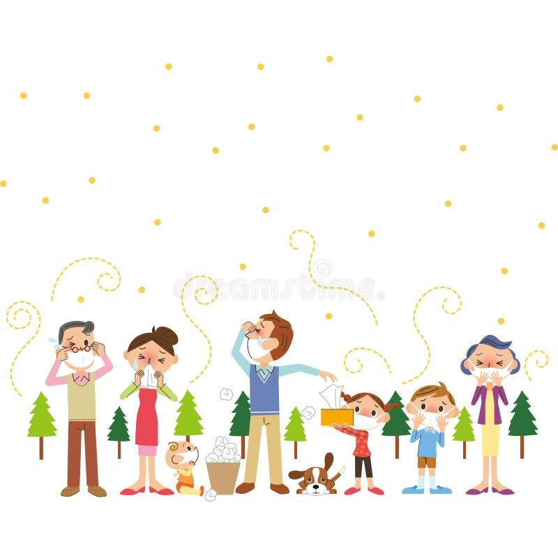 Famille de pollen et de trois-génération illustration stock