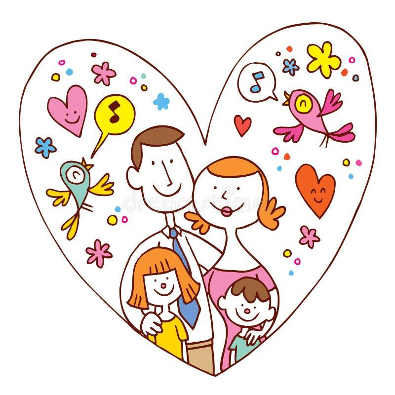Famille de quatre heureuse illustration libre de droits