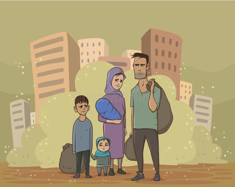 Famille de réfugié sur le fond poussiéreux de ville Problèmes sociaux, guerre, immigration Illustration plate de vecteur illustration libre de droits