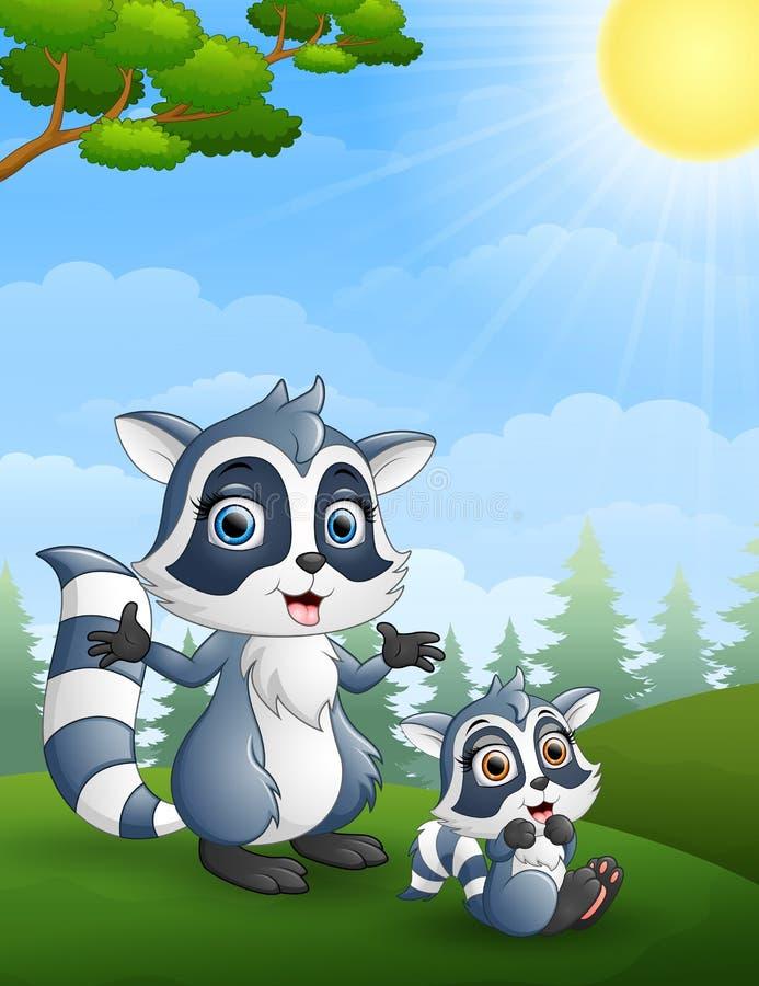 Famille de raton laveur Enfantez et sa bande dessinée d'enfant dans la jungle illustration de vecteur
