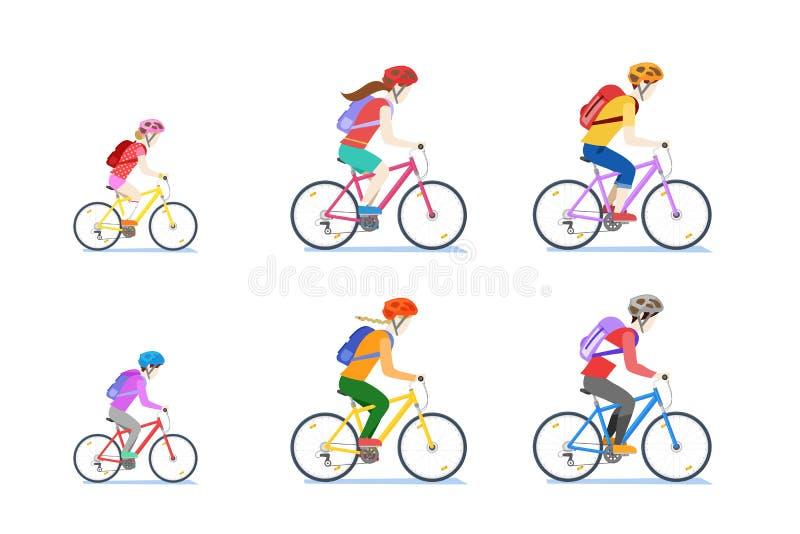 Famille de recyclage d'isolement sur le fond blanc Dirigez l'illustration plate de bande dessinée de style des vélos d'équitation illustration de vecteur
