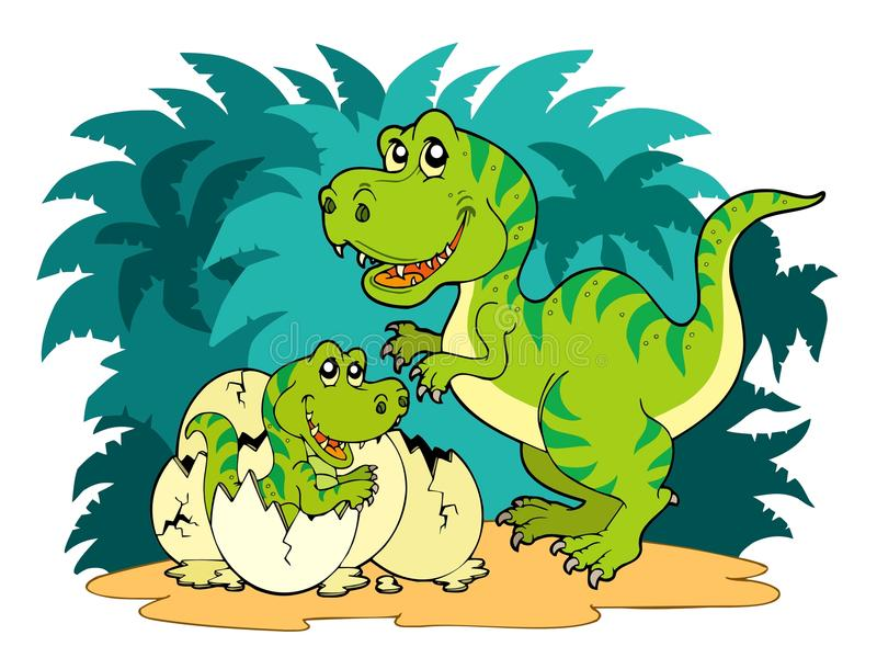 Famille de rex de Tyrannosaurus illustration stock