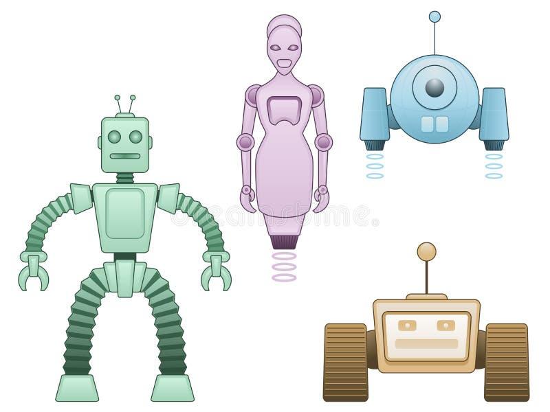 Famille de robot de dessin animé illustration stock