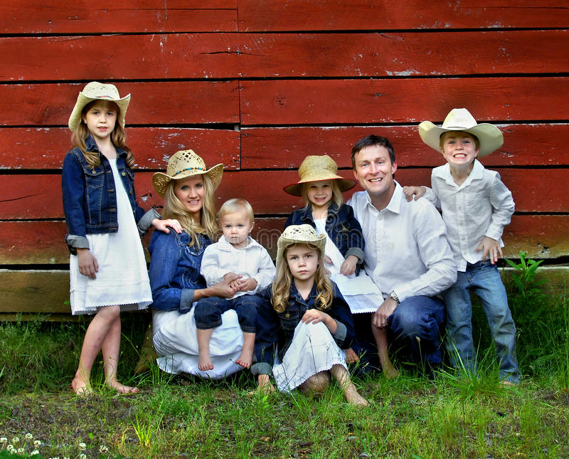 Famille de sept photo stock
