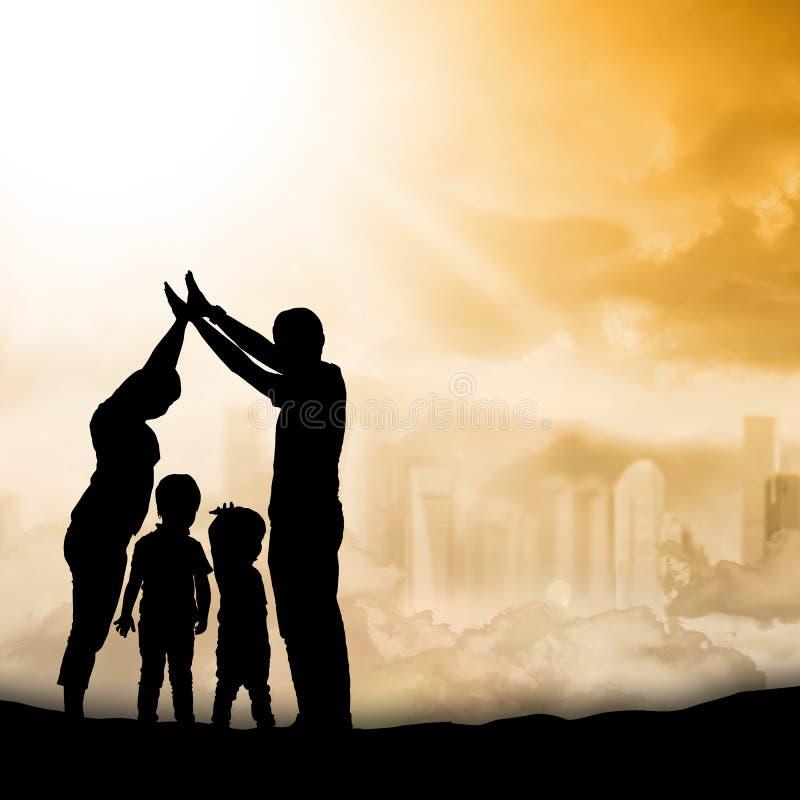 Famille de silhouette image stock