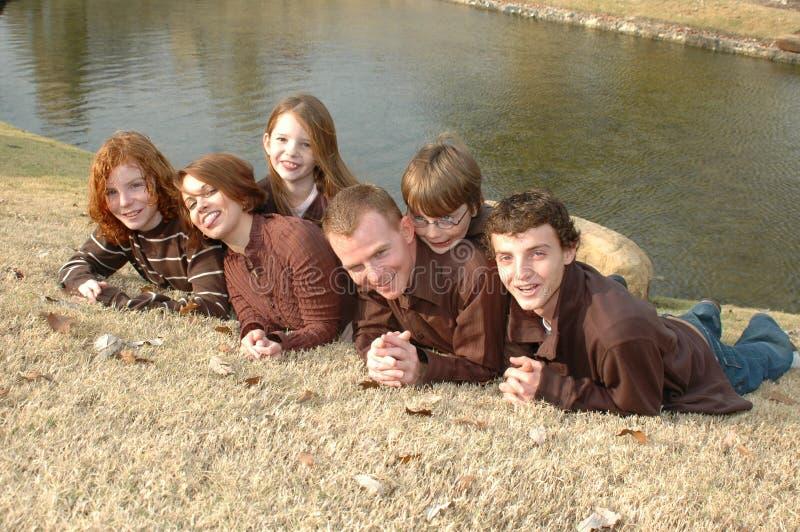 Famille de six drôle photos stock