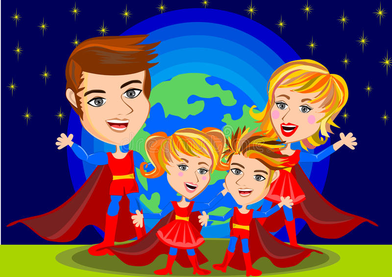 Famille de superhéros illustration de vecteur