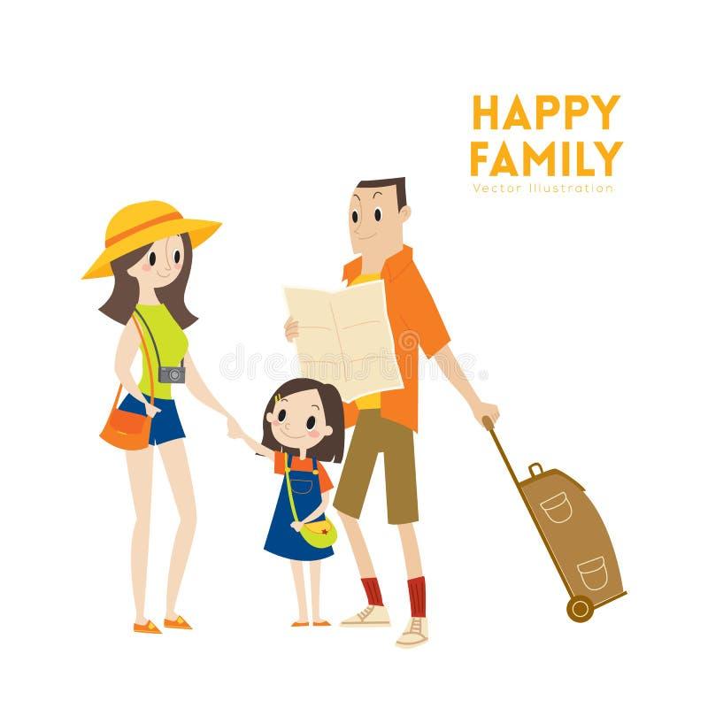 Famille de touristes urbaine moderne heureuse avec prêt pour l'illustration de bande dessinée de vacances illustration stock