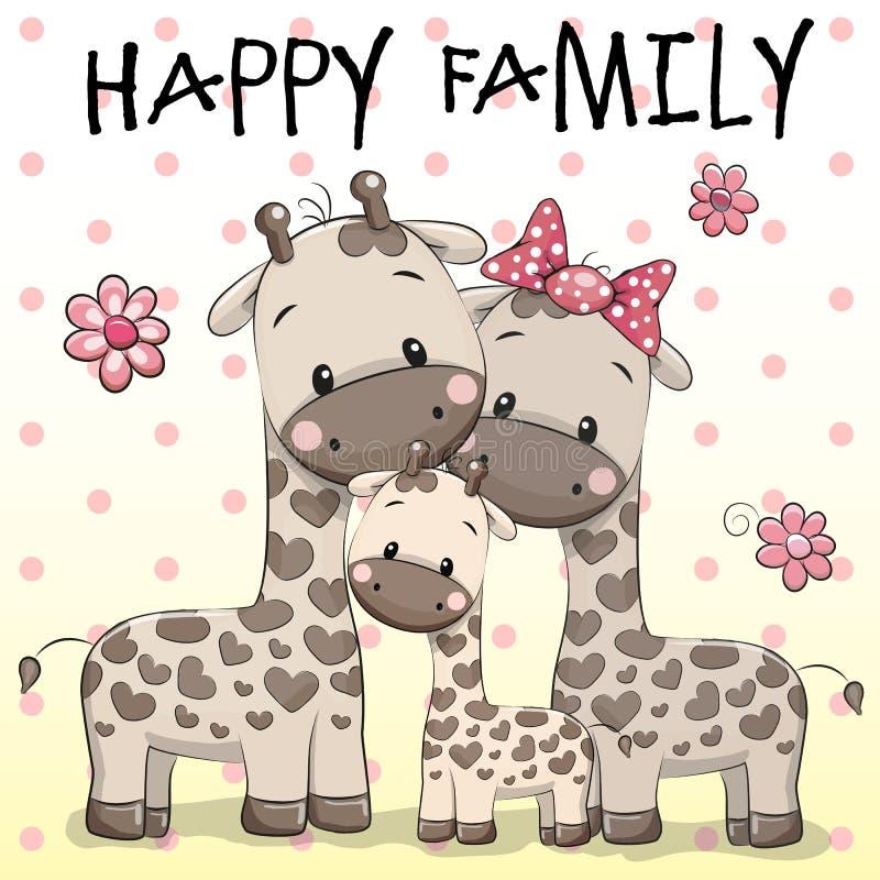 Famille de trois girafes illustration de vecteur