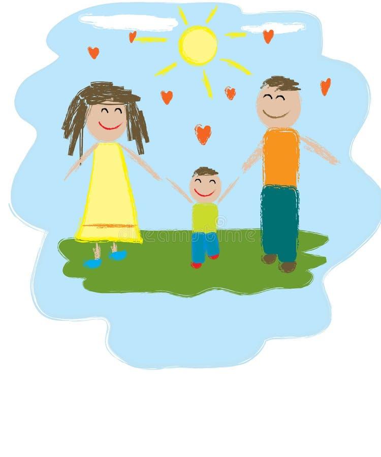Famille de trois heureuse Illustration illustration stock