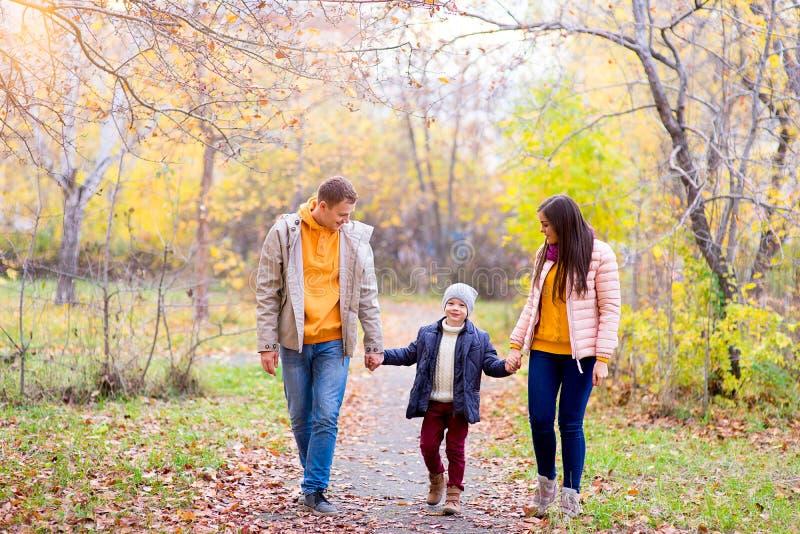 Famille de trois promenades en parc d'automne photographie stock libre de droits
