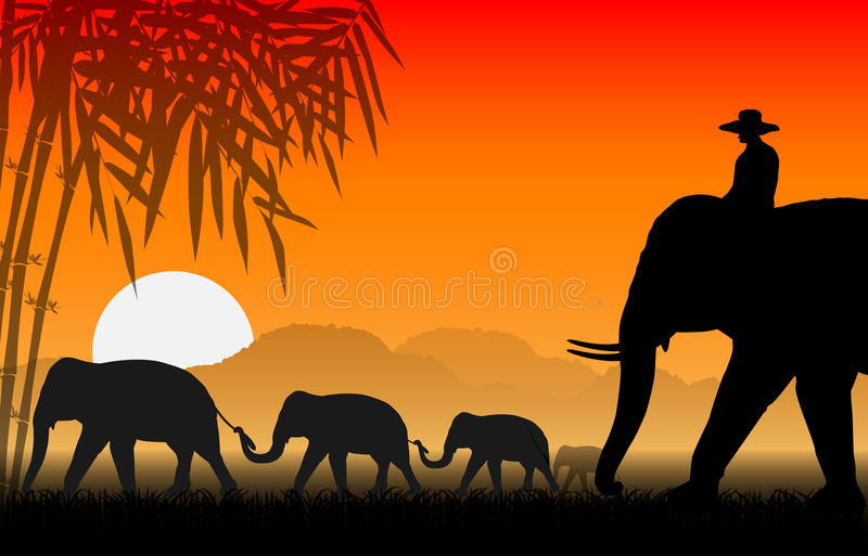 Famille des éléphants illustration libre de droits