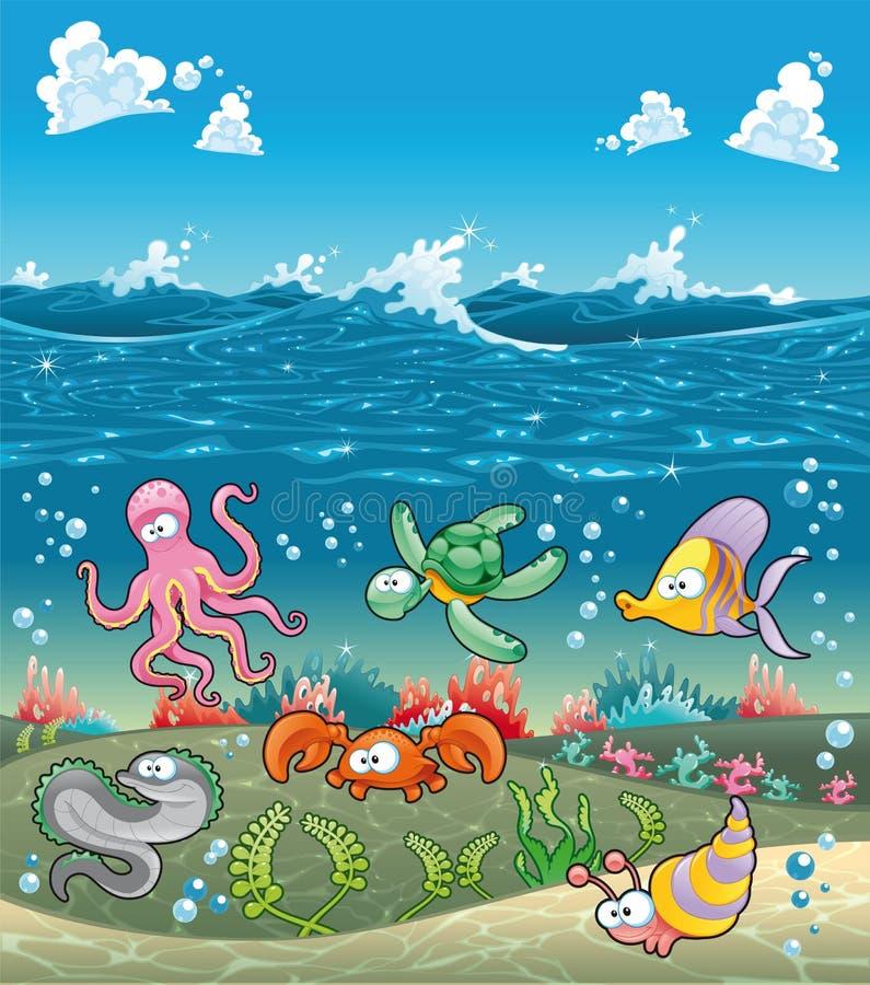 Famille des animaux marins sous la mer. illustration de vecteur