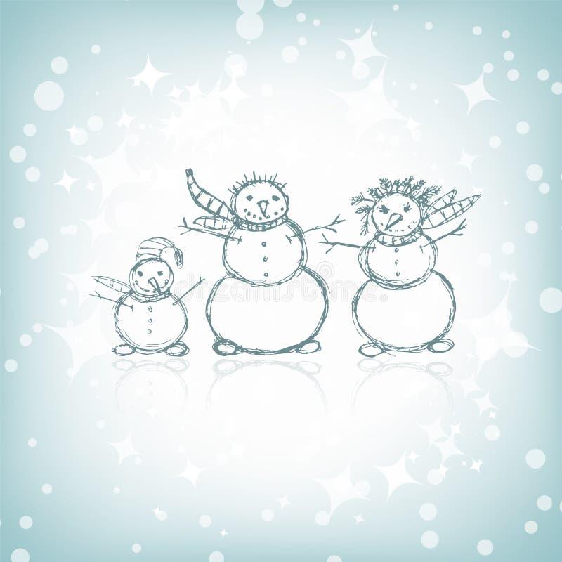 Famille des bonhommes de neige, croquis de Noël illustration stock