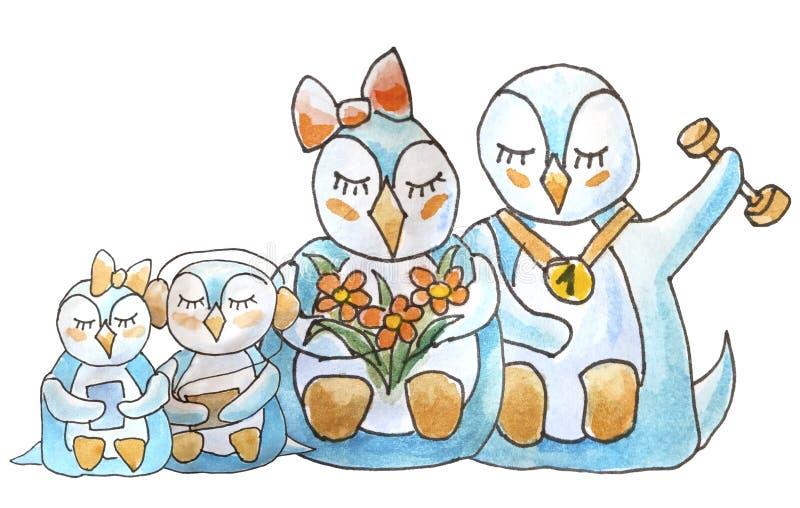 Famille des pingouins sur le fond blanc illustration stock