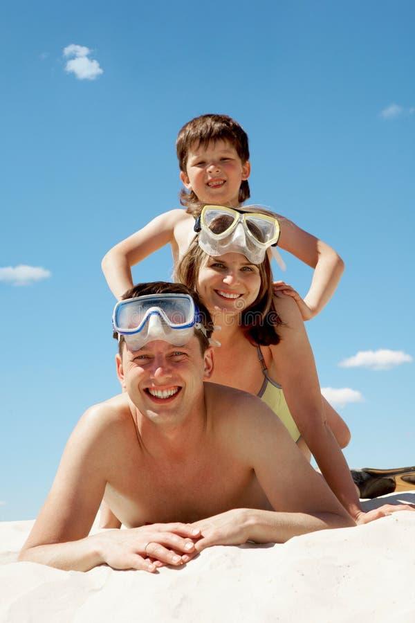 Famille des plongeurs images libres de droits