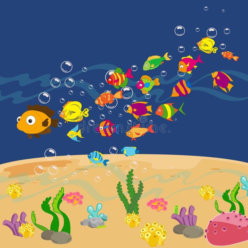 Famille des poissons drôles sous la mer illustration libre de droits