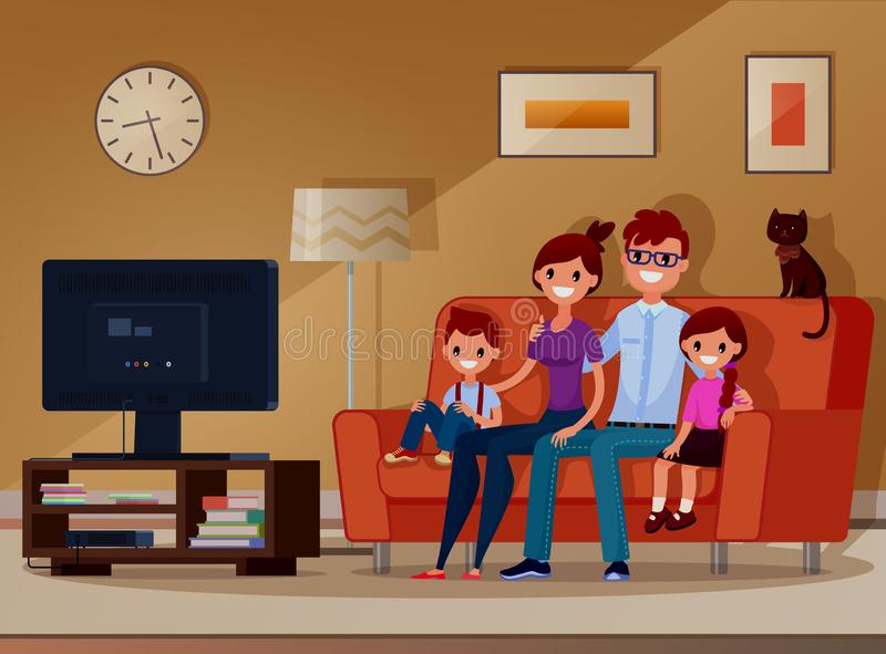 Famille, enfants et parents regardant la TV Vecteur Illustration Style plat Type de dessin animé photo stock