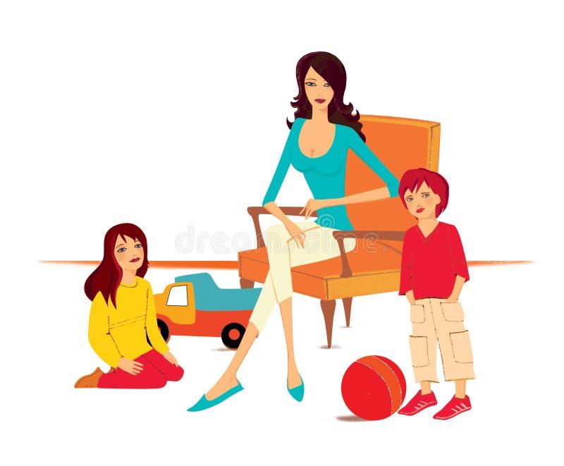 famille Enfants - un garçon et une fille près d'une jeune femme s'asseyant dans une chaise Camion de jouet et une boule près des  illustration de vecteur