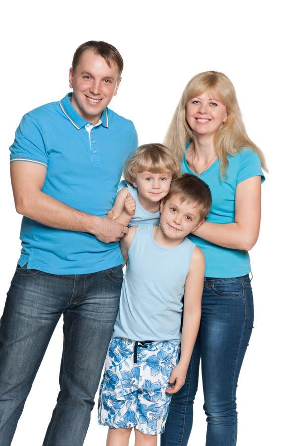 Famille ensemble sur le fond blanc photographie stock libre de droits