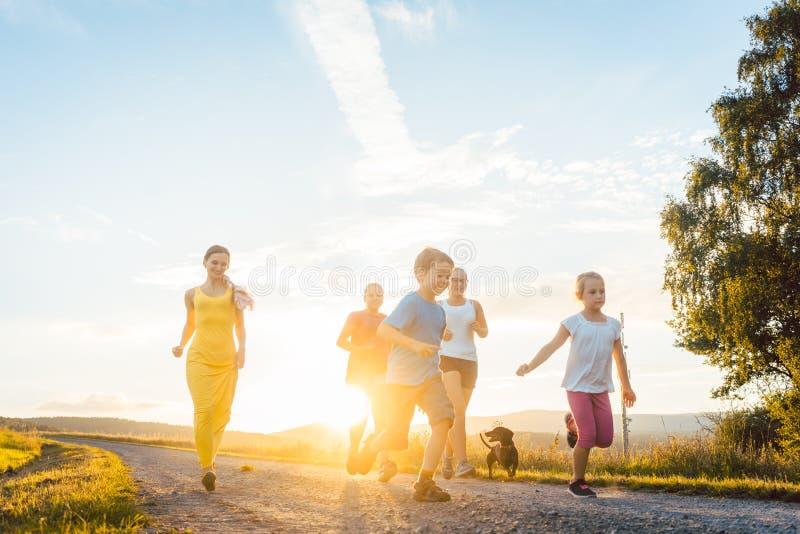 Famille espiègle courant et jouant sur un chemin dans le paysage d'été images stock