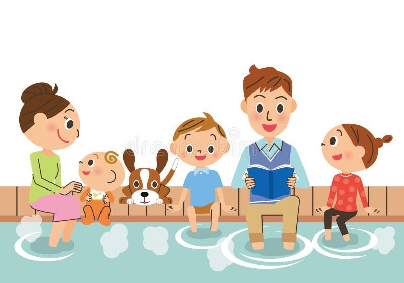 Famille et bain de pieds illustration stock