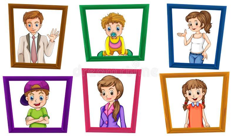 Famille et cadres illustration de vecteur